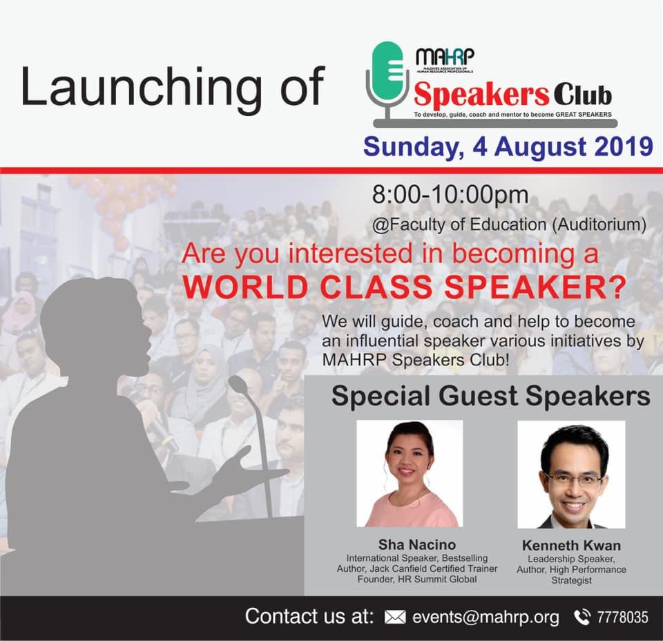 MAHRP Launches Speakers Club – MAHRP